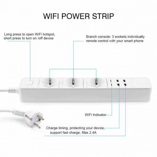 Regleta Wifi con 4 puertos USB para carga