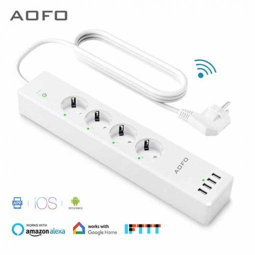 Toma de corriente inteligente Wifi 4 tomas de corriente de la UE enchufe con 4 puertos